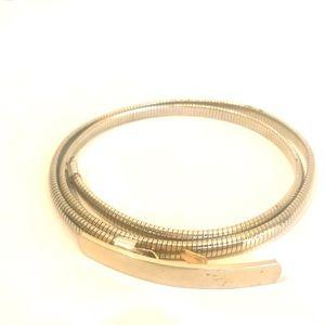 Vintage 70's Silver Metal Elastic Slinky Belt